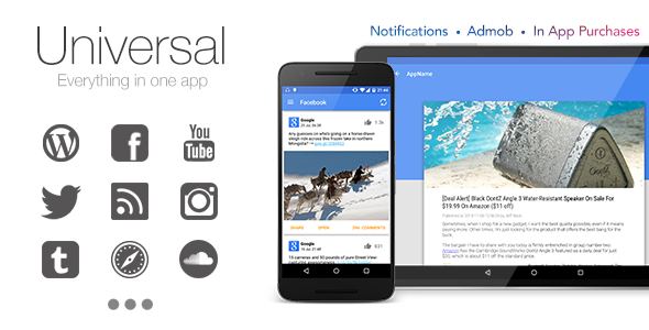 دانلود سورس کد codecanyon – Universal v3.1.0 – Full Multi-Purpose Android App