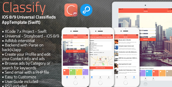 دانلود سورس کد Classify – iOS 8/9 Universal Classifieds App Template – Swift
