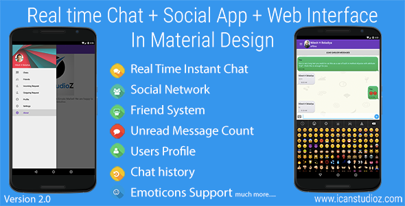 دانلود سورس کد نرم افزار چت اندروید codecanyon – Real Time Chat + Social System + Web Interface