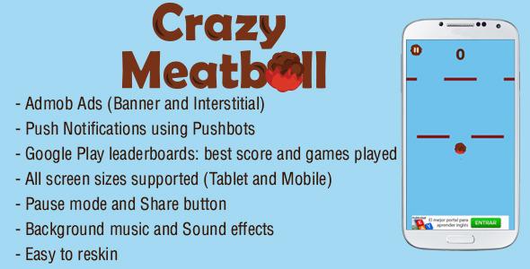 دانلود سورس کد codecanyon – Crazy Meatball – Admob + Leaderboard + Share