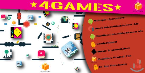 دانلود سورس کد codecanyon – 4BuildBox Games with Admob | Chartboost | Leaderboard