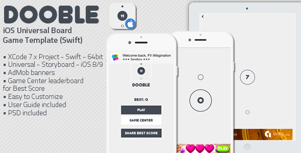 دانلود سورس کد codecanyon – DOOBLE – iOS Universal Game Board Template Swift