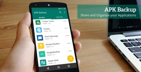 دانلود سورس کد بکاپ گیری codecanyon – APK Backup – Android App 1.2