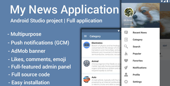 دانلود سورس کد codecanyon – My News v1.2 – Multipurpose Application