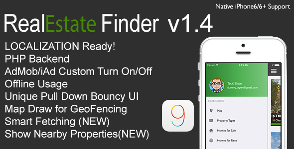 دانلود سورس کد codecanyon – RealEstate Finder Full iOS Application v1.4