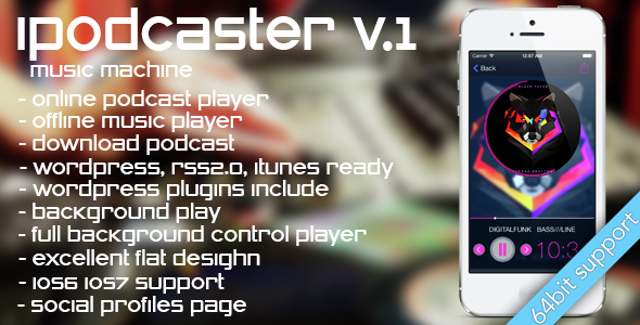 دانلود سورس کد codecanyon – iPodcaster – music machine for iPhone