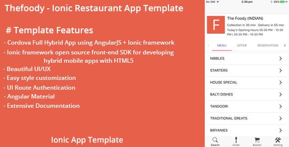 دانلود سورس کد codecanyon – Thefoody – Ionic Restaurant App Template