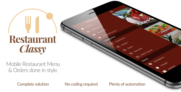 دانلود سورس کد codecanyon – Restaurant Ionic Classy- Full Application with Firebase backend