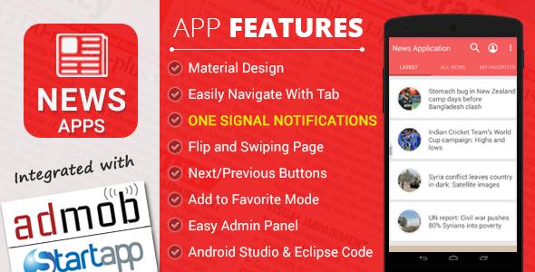 دانلود سورس کد خبری اندروید codecanyon – News Application with Material Design