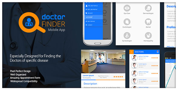 دانلود سورس کد دکتر یاب اندروید codecanyon – Online Doctor Finder Mobile App