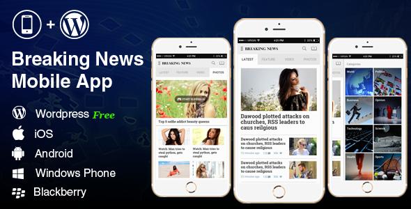 دانلود سورس کد Breaking News – Full Android, iOS Mobile Application for WordPress News, Blog