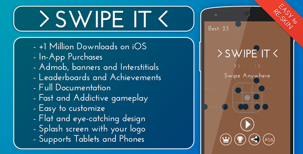 دانلود سورس کد codecanyon – Swipe It – Admob + IAP + Leaderboards