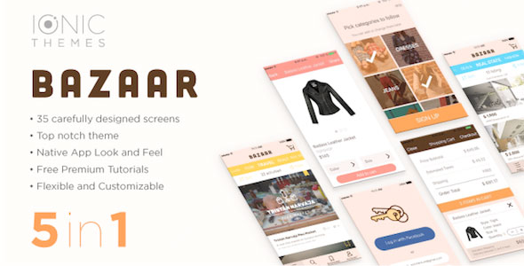 دانلود سورس کد codecanyon – BAZAAR – Ionic Multi App Template with optional WooCommerce integration