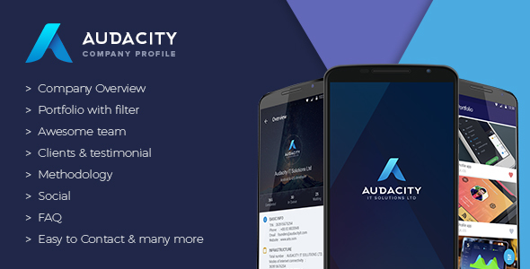 دانلود سورس کد codecanyon – Audacity – Your Company Profile App + Google Analytics