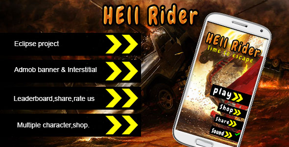 دانلود سورس کد codecanyon – Hell Rider – Admob Multiple character Leadeboard