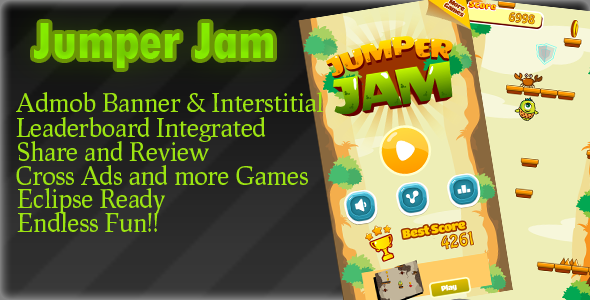 دانلود سورس کد codecanyon – Jumper JAM Admob + Leaderboard + Powerups + Endless