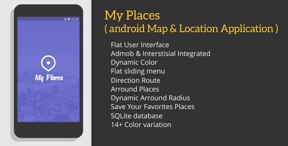 دانلود سورس کد نقشه مناطق مهم اطراف codecanyon – My Places with Admob