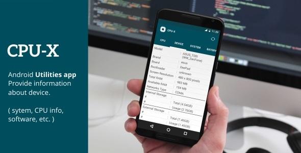دانلود سورس کد نمایش اطلاعات گوشی codecanyon – CPU-X – premium utilities app template