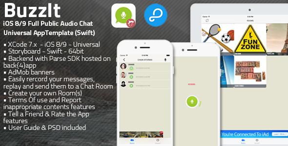 دانلود سورس کد codecanyon – Buzz It | iOS 8/9 Universal Public Audio Chat App Swift