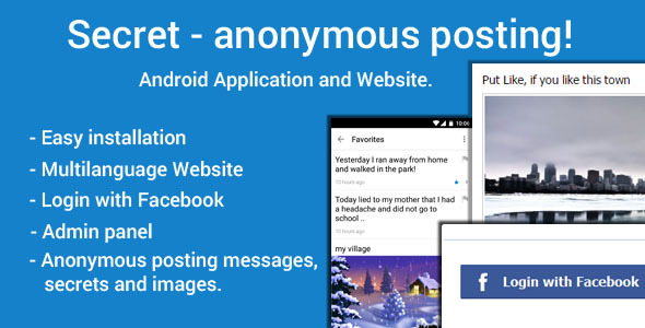 دانلود سورس کد جامعه مجازی اندروید codecanyon – Secret – Anonymous Posting
