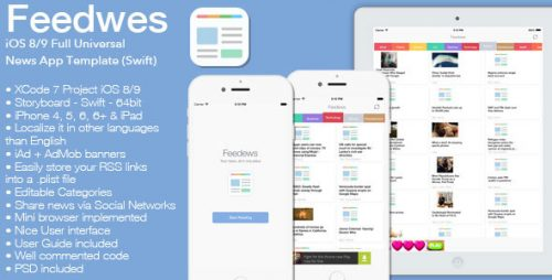 دانلود سورس Feedews – iOS 8/9 Universal News App Template Swift