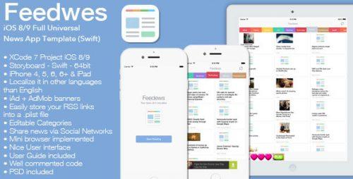 دانلود سورس Feedews – iOS 8/9 Universal News App Template Swift