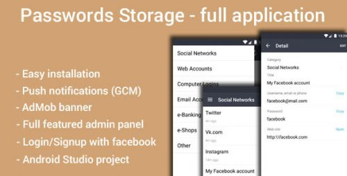 دانلود سورس codecanyon – Passwords Storage App