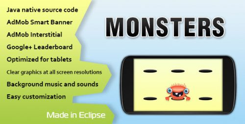 دانلود سورس Monsters Game with AdMob and Leaderboard
