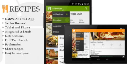 دانلود سورس codecanyon – Android Recipes App
