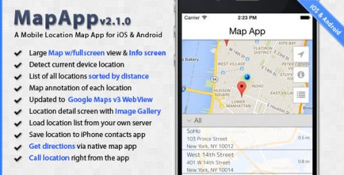 دانلود سورس MapApp – iOS and Android Mobile Location Map App
