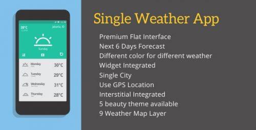 دانلود سورس هواشناسی اندروید codecanyon – Single Weather App