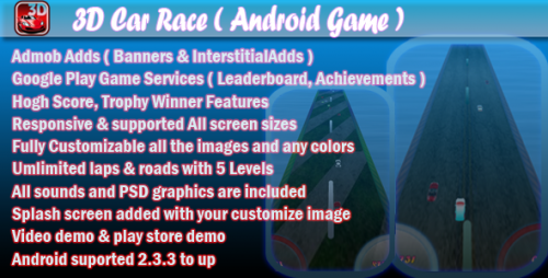 دانلود سورس کد codecanyon – 3D Car Race + Leaderboard + Achievement + Admob