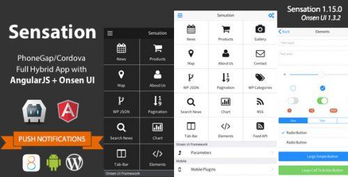 دانلود سورس Sensation – PhoneGap / Cordova Full Hybrid App
